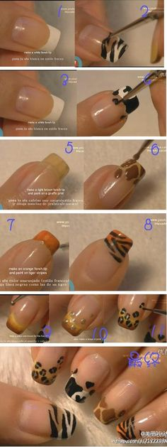 1) create a french tip (in any color) by swiping the brush ACROSS the nail sideways (starting from the left tip of the nail to the right) 2) when completely, use a fine brush to add designs 3) add top coat **don't forget to use the dotting tool we made on my board!