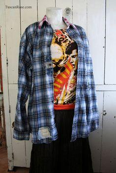 Blue neo grunge flannel shirt