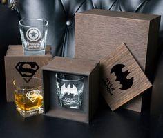 Groomsmen Gift whiskey Glass Set . Superheroes Personalized | Etsy Whiskey Gift Set, Whiskey Decanter, Jack And Sally, Card Box Wedding, Glass Boxes, Light Oak, Groomsman Gifts, Groomsmen, Rustic Wedding