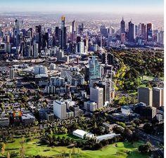 Aerial view of Melbourne, Victoria, Australia.