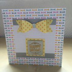 Carte anniversaire noeud jaune et fond noeuds colorés : Cartes par sab-and-paper