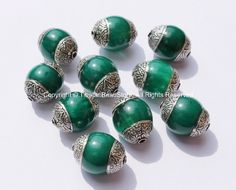 10 beads - Tibetan Green Copal Beads with Double Vajra Filigree Repousse Tibetan Silver Caps - Quality Ethnic Tibetan Unique Beads- B1393-10