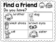 "Back to School activity to get to know classmates. Find a Friend. ""Do you have?"""