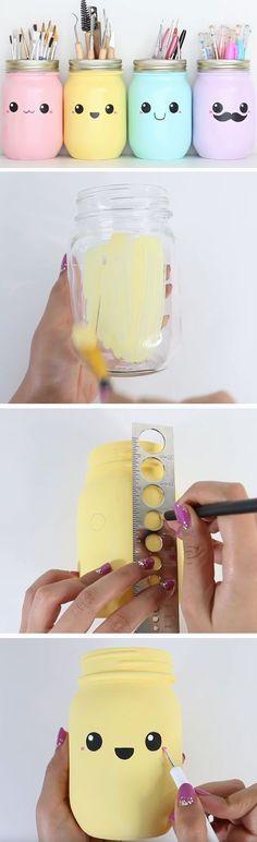recyclage bocaux en verre, repeints de peinture acrylique, couleurs diverses, idée bricolage enfant rentrée