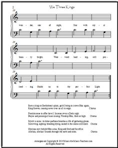 We Three Kings of Orient Are, printable easy Christmas sheet music. | Christmas Piano Sheet ...