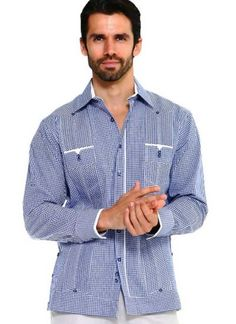 Fabric Content: CottonShirt Long Sleeve 2 Pocket Design with Contrast Trim Gents Kurta Design, Guayabera Shirt, Checker Print, Kurta Designs, Navy Color, Paisley Print, Long Sleeve Shirts, Cuban, Sleeves