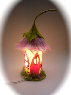"Table Lamp cover  ""Fairy-house""  Wet Felted.Fairy light,Bedside,Nightlight.Waldorf."