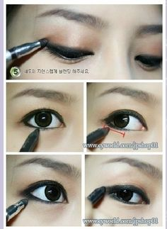 When lining the bottom waterline, only bring the eyeliner three-fifths of the way back to the inner rim. It'll open up the eye. | 19 Awesome Eye Makeup Ideas For Asians