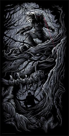 Cool Art: 'Predator' by Dan Mumford Alien Vs Predator, Predator Movie, Predator Alien, Arte Alien, Alien Art, Arte Horror, Horror Art, Dan Mumford, Nail Art Designs