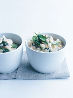 spinach, fetta and pine nut baked risotto - add white wine stir until absorbed then add stock.
