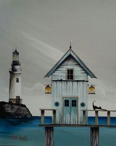 'Beach Hut Cat' by Gary Walton Beach Huts Art, Beach Art, Lighthouse Painting, House Illustration, House Drawing, Am Meer, Naive Art, Whimsical Art, Little Houses