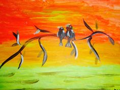 Hand painted love birds original painting by MadameBarcarolle