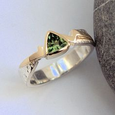 Green Tourmaline gold and silver ring