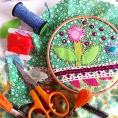 """""""More playing with layers and colours... #embroidery #mixedmedia #craft """"  So pretty."""