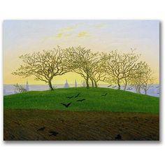 Trademark Fine Art Hills And Ploughed Fields Canvas Wall Art by Caspar Friedrich, Size: 24 x 32, Multicolor
