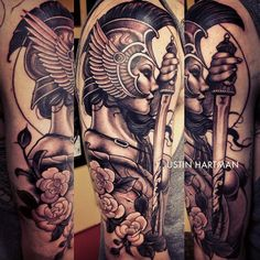 What does warrior tattoo mean? We have warrior tattoo ideas, designs, symbolism and we explain the meaning behind the tattoo. Great Tattoos, Body Art Tattoos, Sleeve Tattoos, Tatoos, Tattoo Sleeves, Athena Tattoo, Valkyrie Tattoo, Mangas Tattoo, Greek Mythology Tattoos