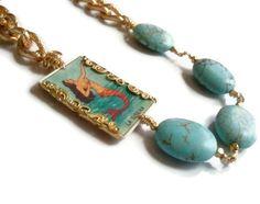 La Sirena  The Mermaid Loteria Necklace by WinkArtisans on Etsy, $40.00