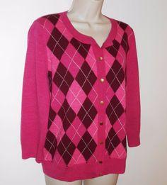 Talbots L Merino Wool Cardigan Sweater Argyle Pink Large #Talbots #Cardigan