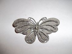 Vintage Silver Filigree Butterfly Brooch with Rhinestones