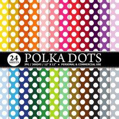 BUY 1 GET 1 FREE 24 Big Polka Dots Digital by TheCreativeMill