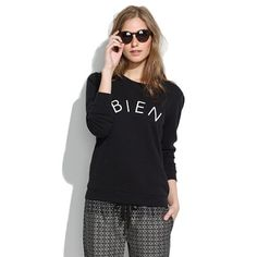 Review of the Bien Fait Sweatshirt and Tee posted here: http://shopwithm.blogspot.com/2013/09/madewell-reviews-bien-fait-tee-and.html