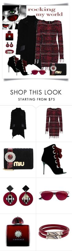 """Balmain Fall 17 Checked Fringe Dress Look"" by romaboots-1 ❤ liked on Polyvore featuring Fendi, Balmain, Miu Miu, Giuseppe Zanotti, Christian Dior, AMOUAGE and Salvatore Ferragamo"
