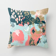 Eisley - Modern fresh abstract painting in bright colors perfect for trendy girls decor college Throw Pillow