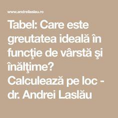 Tabel: Care este greutatea ideală în funcţie de vârstă şi înălţime? Calculează pe loc - dr. Andrei Laslău