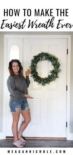How to Make the EASIEST WREATH Ever | MeaganNichole.com Green Wreath, Grapevine Wreath, Best Shakes, Greenery Garland, Lambs Ear, Wreath Forms, Wreath Tutorial, Cute Diys, Make It Through