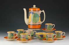 Andrew Muir | Clarice Cliff, Art Deco Pottery, Green Melon Coffee Set