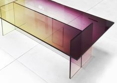 Germans Ermics adds gradients to glass, then assembles these ombre furniture pieces that wouldn't feel out of place in a California Light & Space show.