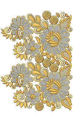Peacock Embroidery Designs, Border Embroidery Designs, Cutwork Embroidery, Couture Embroidery, Machine Embroidery Patterns, Embroidery Stitches, Border Design, Lace Design, Stitch Design
