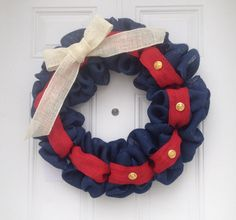 Marine Corps Wreath, Red burlap wreath, Blue burlap wreath