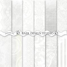 WHITE and GRAY DAMASK Digital Paper 85x11 in by BaerDesignStudio, $4.99