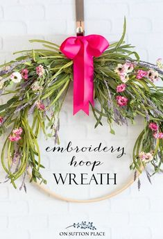 Easy Floral Embroidery Hoop Wreath | Make this floral wreath with an embroidery hoop and basic craft store items. Inexpensive way to dress up your door!