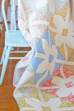 Star Blooms using California Girls from Moda Fabrics Fig Tree Quilts fabric collection.
