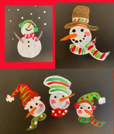 Fearless Friday, Simple Painted Snowmen | The Painted Apron Fearless Friday, Pink Cheeks, Snow Art, Pottery Sculpture, Green Dot, Red Scarves, Winter Art, Black Paper, Red And White Stripes