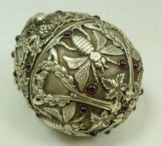 RUSSIAN SILVER JEWELED INSECTS EGG, late 19th century