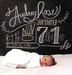 Baby girl birth announcement Toni Kami ~•❤• Bébé •❤•~ Precious Newborn photography idea chalkboard for a baby boy or girl!