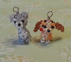 Miniature Japanese Seed Bead Disney Lady and Tramp Charm Doll