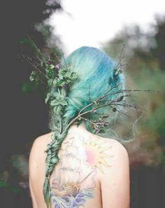 Blue-green hair
