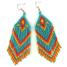 Native American Seed Bead Patterns | Long Native American Style Seed Bead Earrings in turquoise, yellow and ...