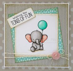 Cute handmade elephant birthday card (image is Adorable Elephants by My…
