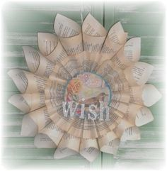 Upcycled Vintage Blue Bird WISH Book Page Paper Wreath