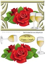 Pretty red roses   champagne for the happy couple on there Anniversary A5 on Craftsuprint - View Now!