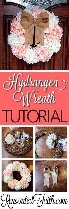Hydrangea Door Wreath - This easy, affordable wreath is sure to brighten up your front door for spring. #springwreath #hydrangeadoorwreath #diywreath #renovatedfaith