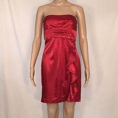 496d313075d Sequin Hearts Juniors Size 3 Red Dress Strapless Formal Gown Asymmetrical  Ruffle