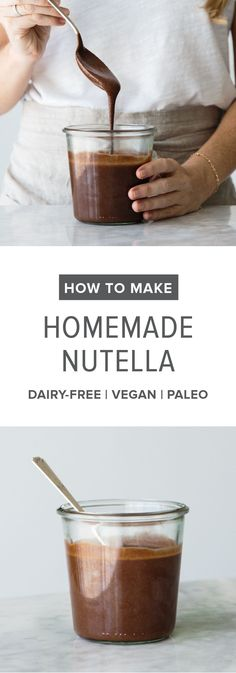 (dairy-free, vegan, paleo) How to make homemade nutella. A delicious, healthier alternative with a step-by-step tutorial video.