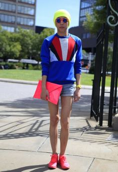 NY Street Fashion - Denim Cut-Offs & Pepperings of Neon Pink.