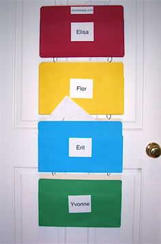 DIY hanging files.  Good for when all 3 kids are in school.